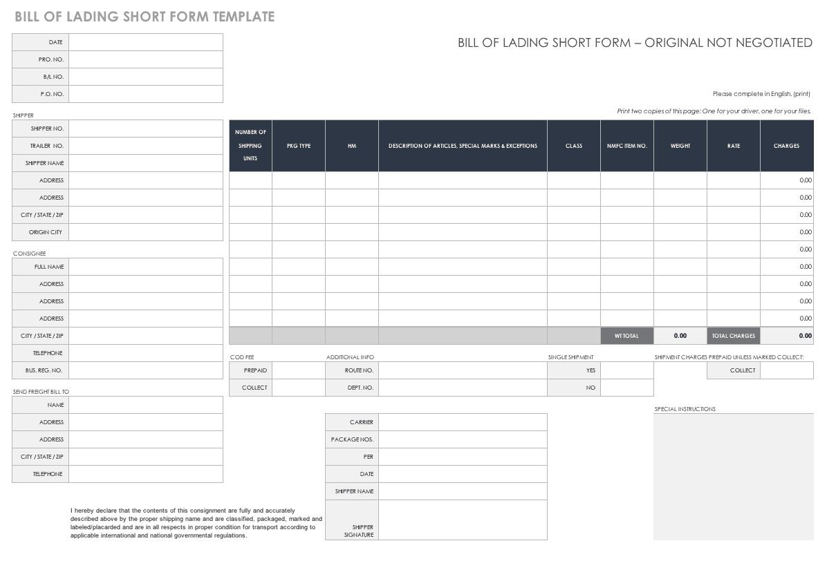 short form bill of lading template