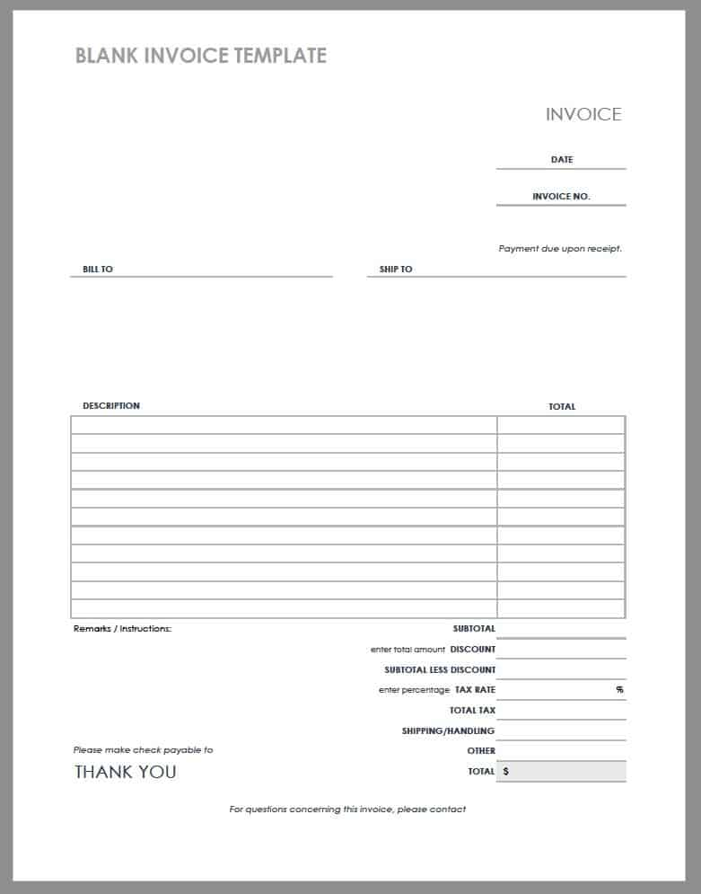This is a picture of Selective Free Printable Invoice Pdf