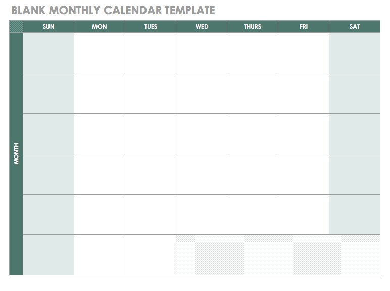 Blank Monthly Calendar Template Good Ideas