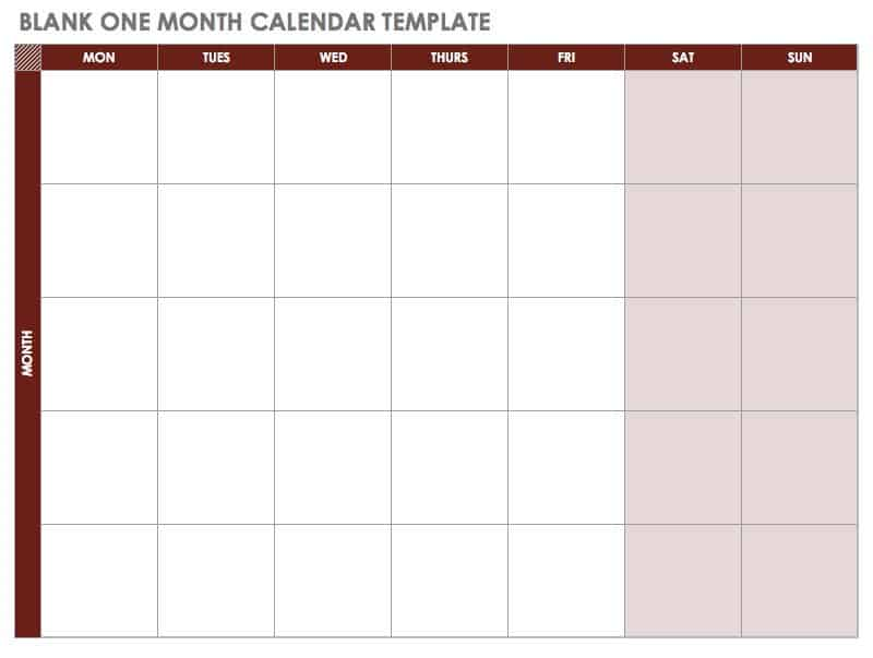 blank one month calendar starting with monday template
