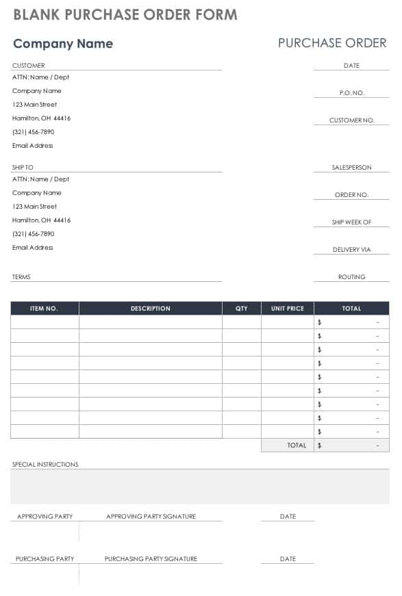 Blank Purchase Order Form With Templates  Po Form Template