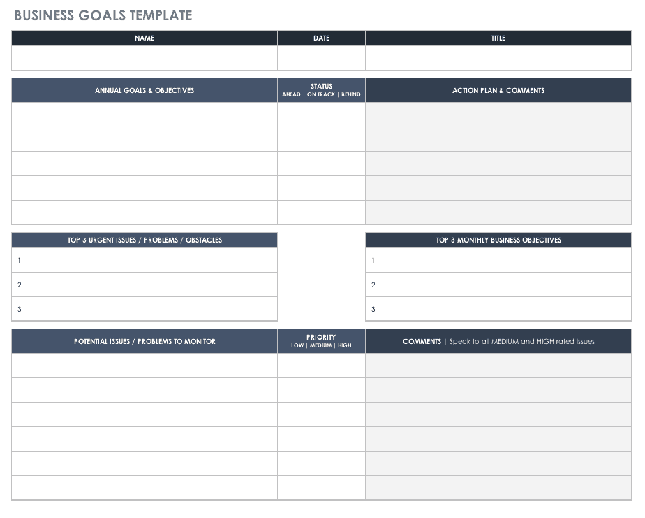Free goal setting and tracking templates smartsheet accmission Image collections