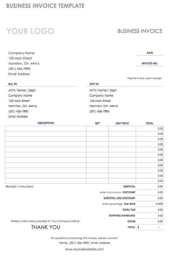 business invoice template excel - Business Invoice