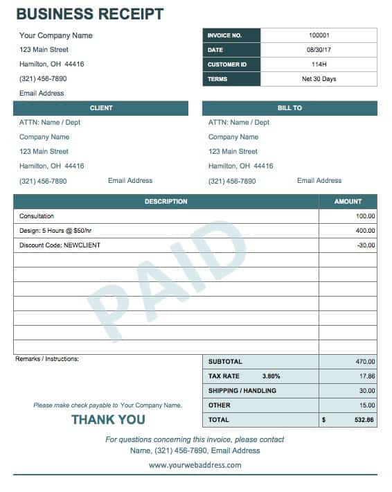 13 Free Business Receipt Templates Smartsheet – Format Receipt