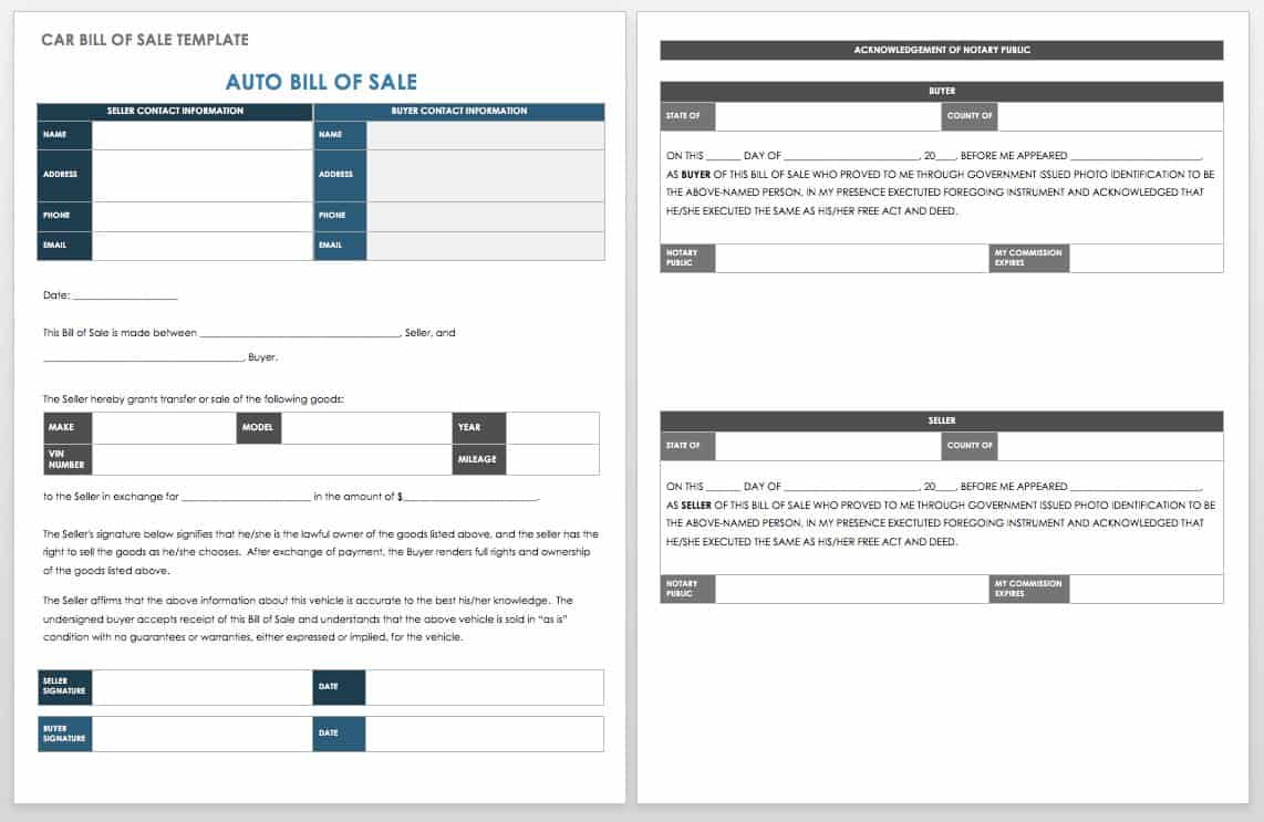 standard bill of sale template