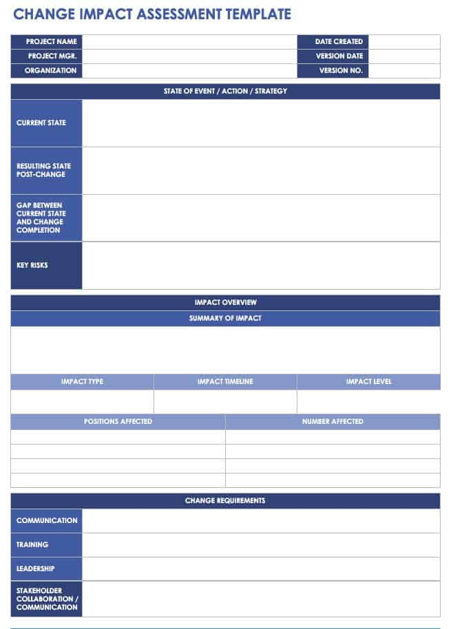 change impact assessment template free change management templates smartsheet