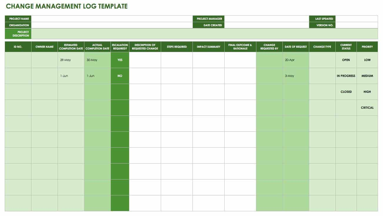 change log template project management free change management templates smartsheet