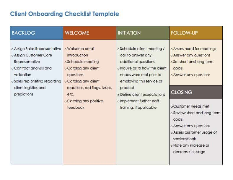 Free Onboarding Checklists and Templates Smartsheet – Induction Checklist Template