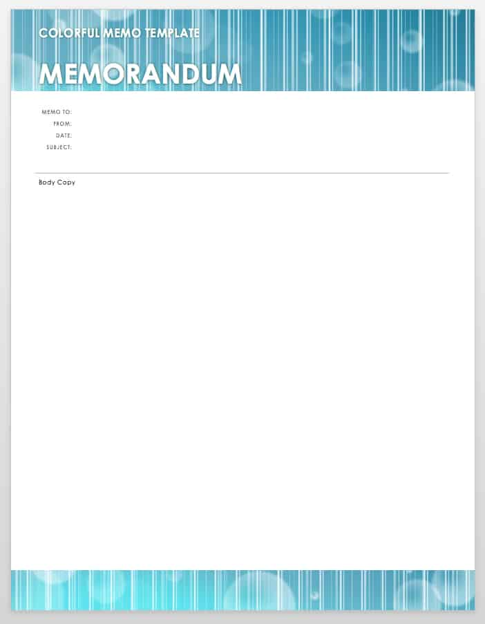 colorful memo template word