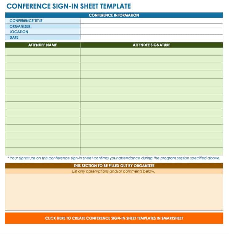 Free Signin and Signup Sheet Templates – Attendees List Template