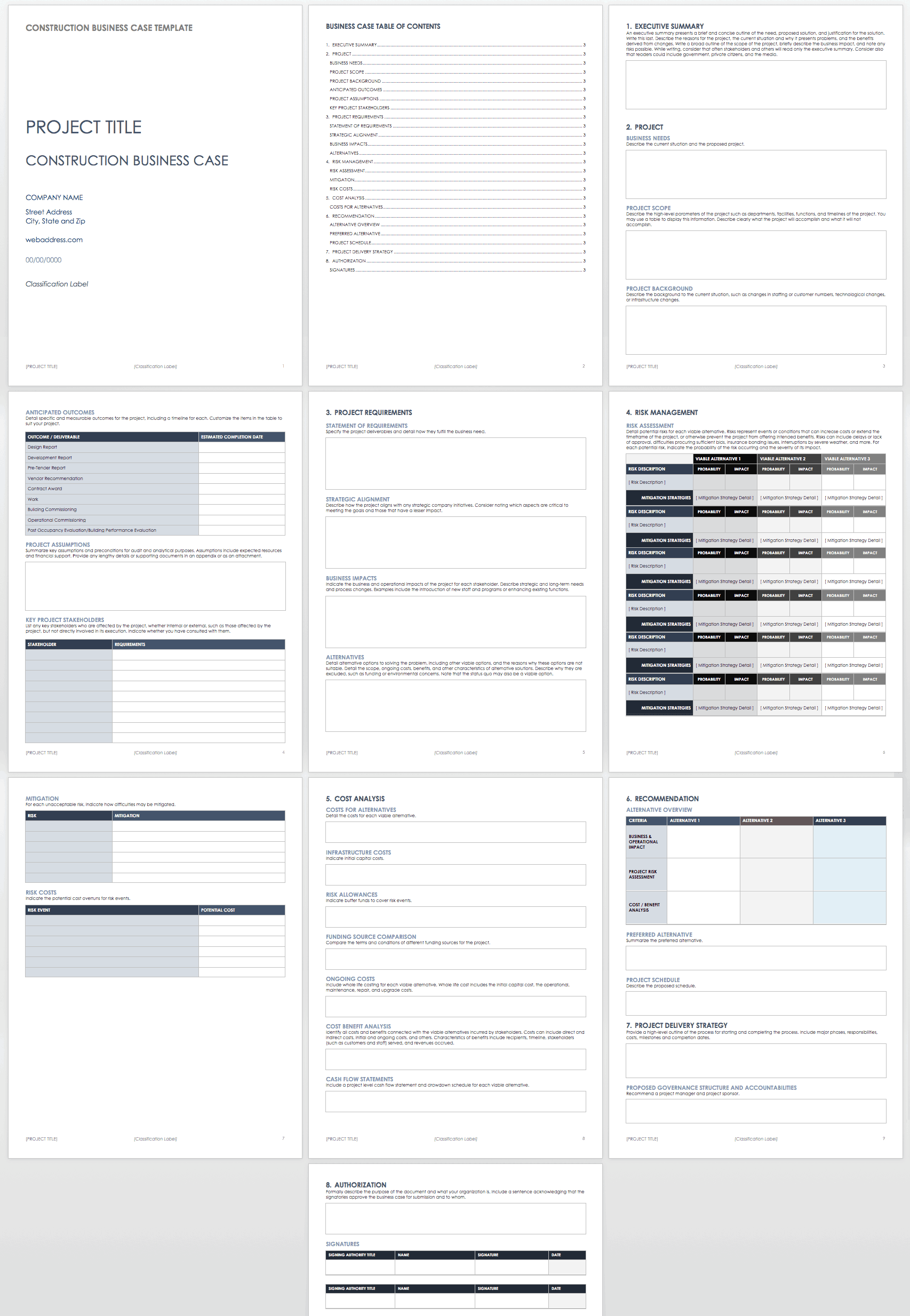 free business case templates smartsheet
