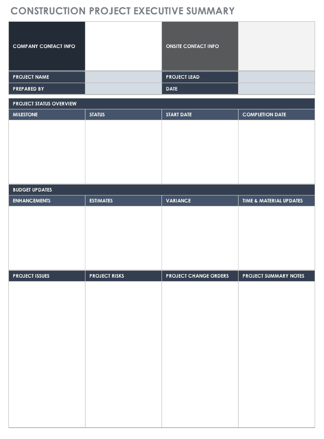 free executive summary templates smartsheet