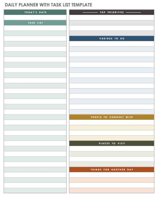 word daily planner template
