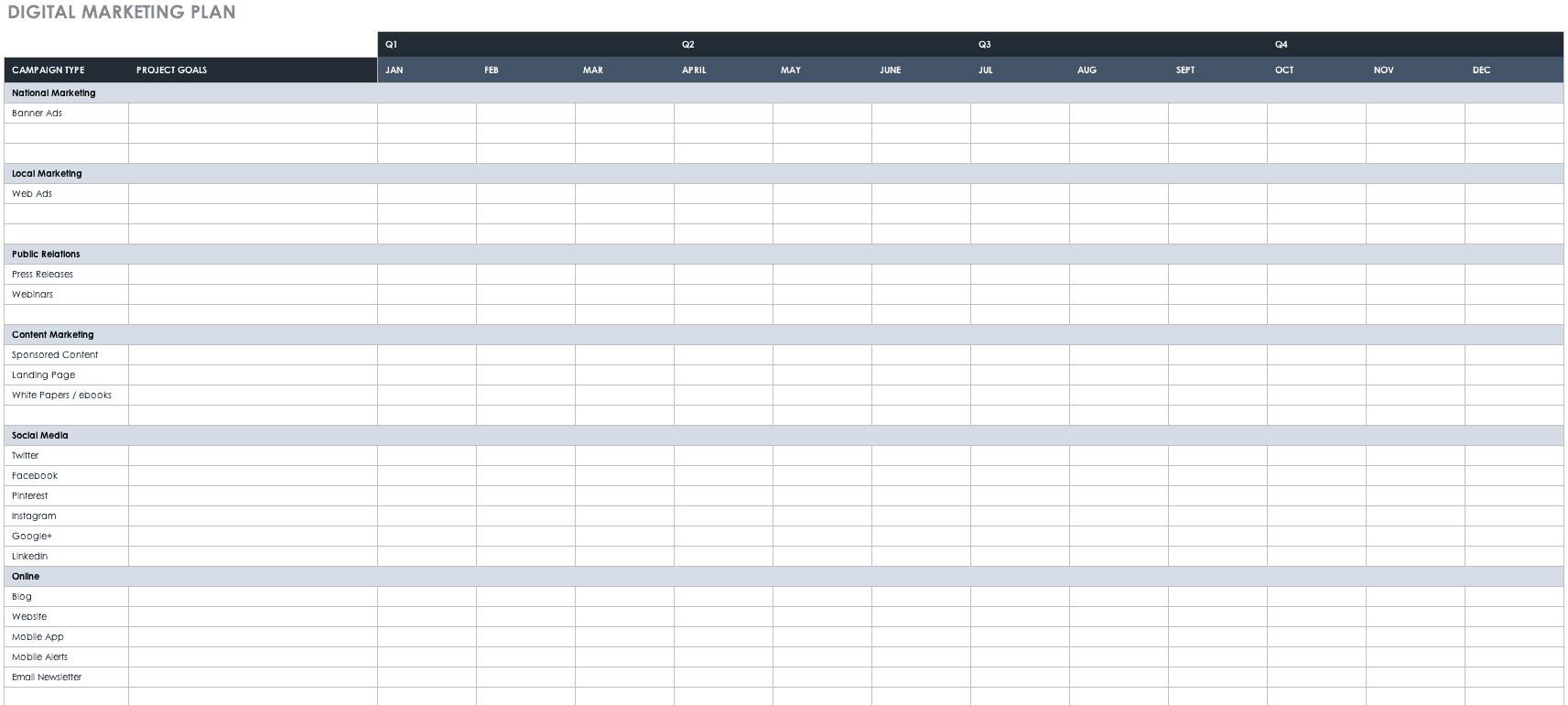 Free Marketing Plan Templates For Excel Smartsheet - Marketing campaign schedule template