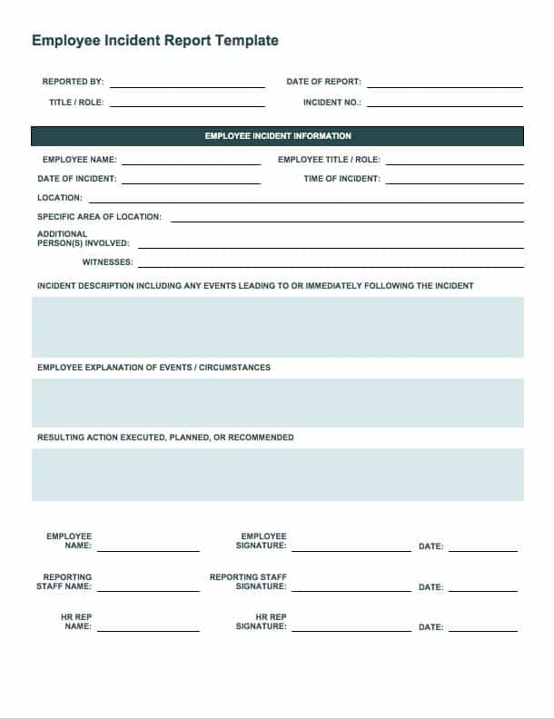 Incident Report Form Incident And Accident Report Form Template
