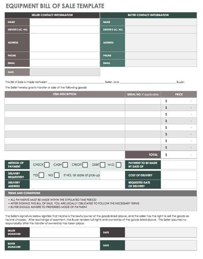 Equipment Bill Of Sale Template | 15 Free Bill Of Sale Templates Smartsheet