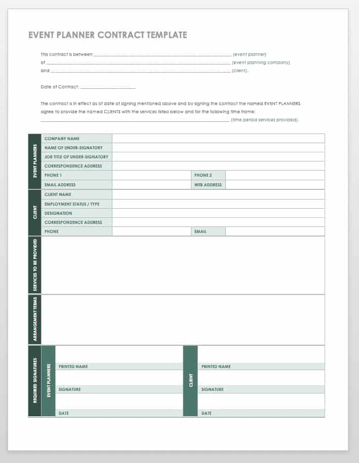 Event Planner Contract Template  Event Planning Template Free