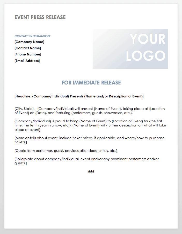 event press release template
