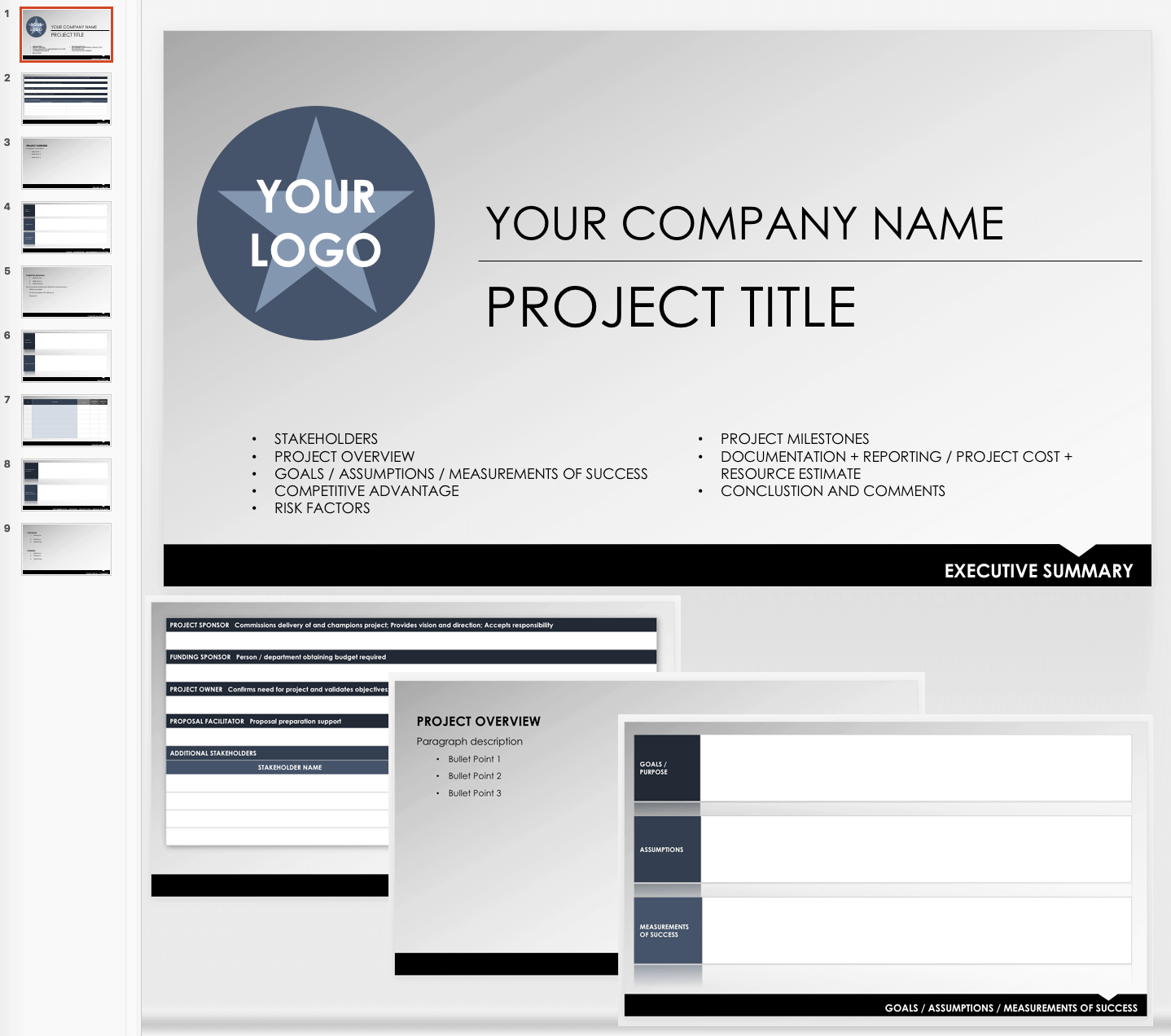 Executive Summary Outline Template   PowerPoint
