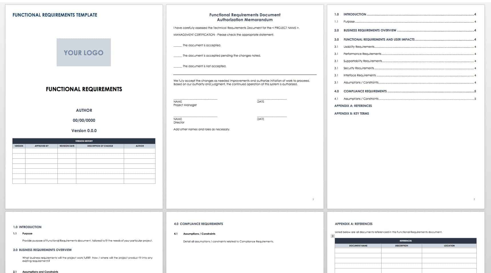 Free functional specification templates smartsheet download functional requirements template word friedricerecipe Images