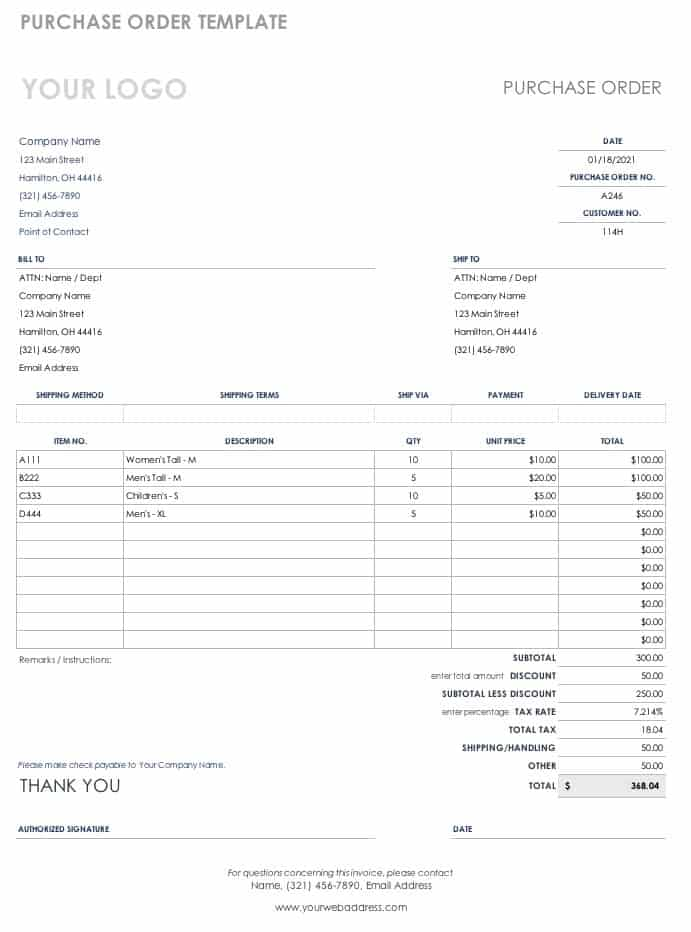 Generic Purchase Order Template   Excel  Generic Purchase Order