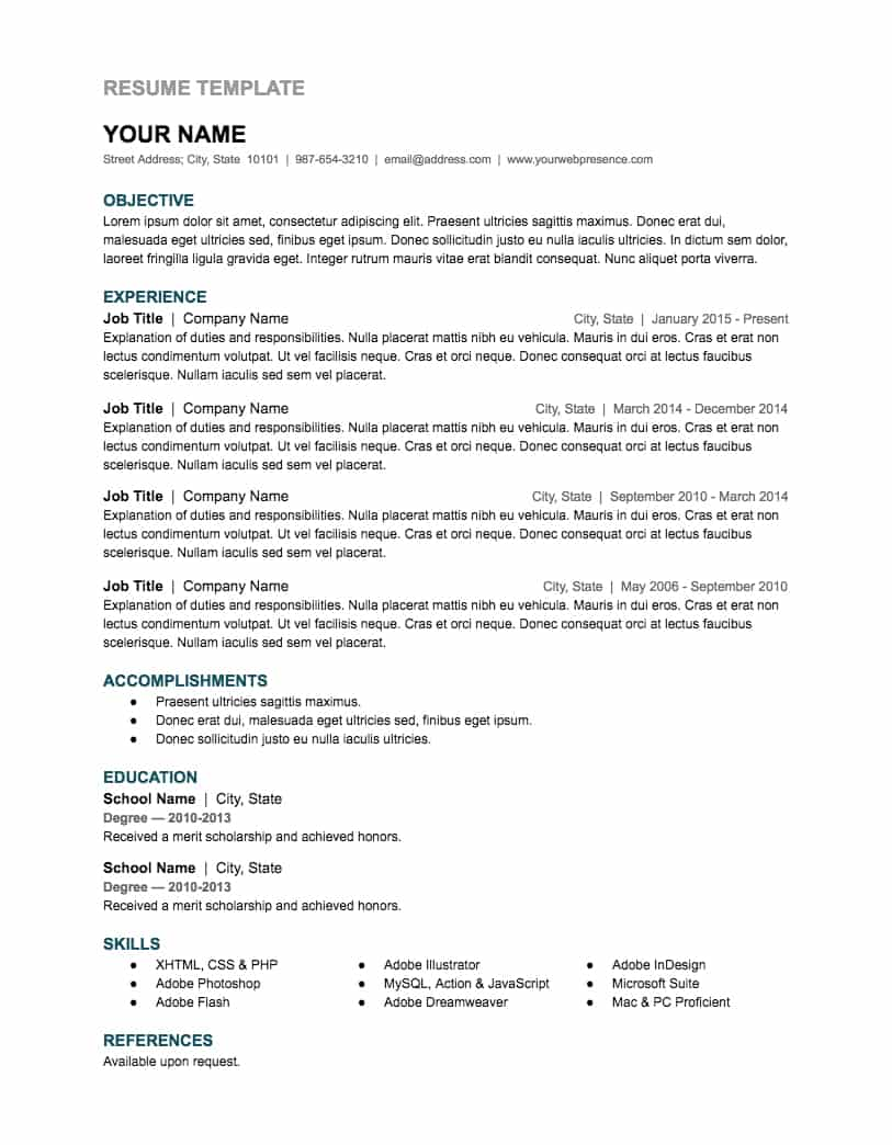 google docs resume template create a resume that looks professional and highlights your work experience significant accomplishments education