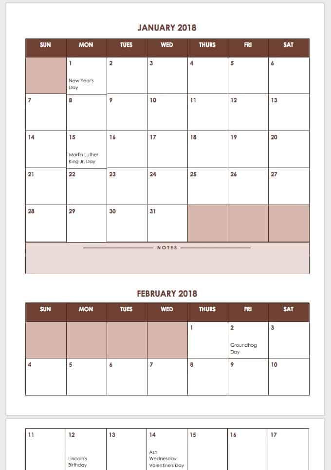 Google Calendar Year Planner : Free weekly calendar templates smartsheet