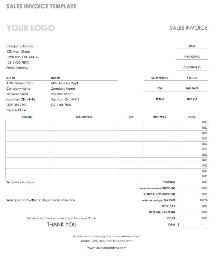 55 free invoice templates smartsheet this invoice template can be used for billing or as a sales receipt to document a completed transaction the invoice includes unit prices item numbers saigontimesfo