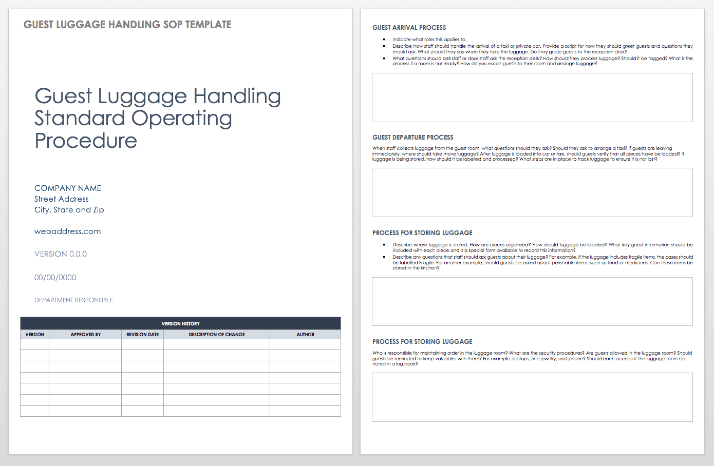 Guest Luggage Standard Operating Procedure Template Procedures