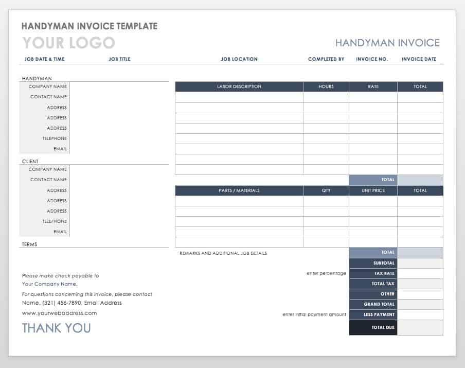 Free Invoice Templates Smartsheet - Printable handyman invoice
