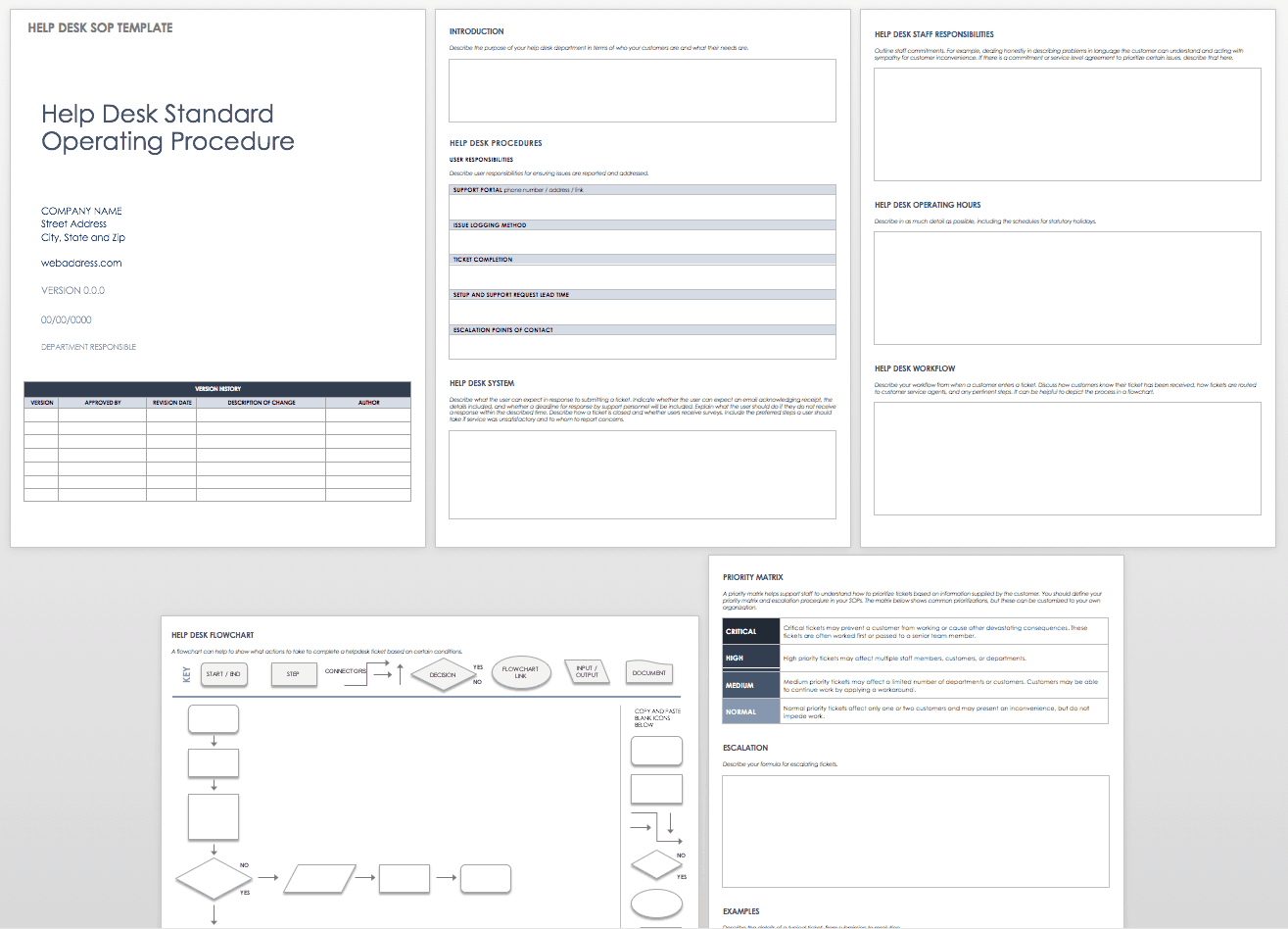 Standard operating procedures templates smartsheet for Help desk procedures template