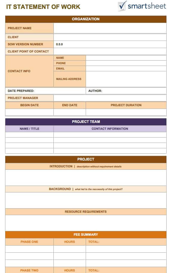 Free Statement of Work Templates Smartsheet – Point of Contact Template