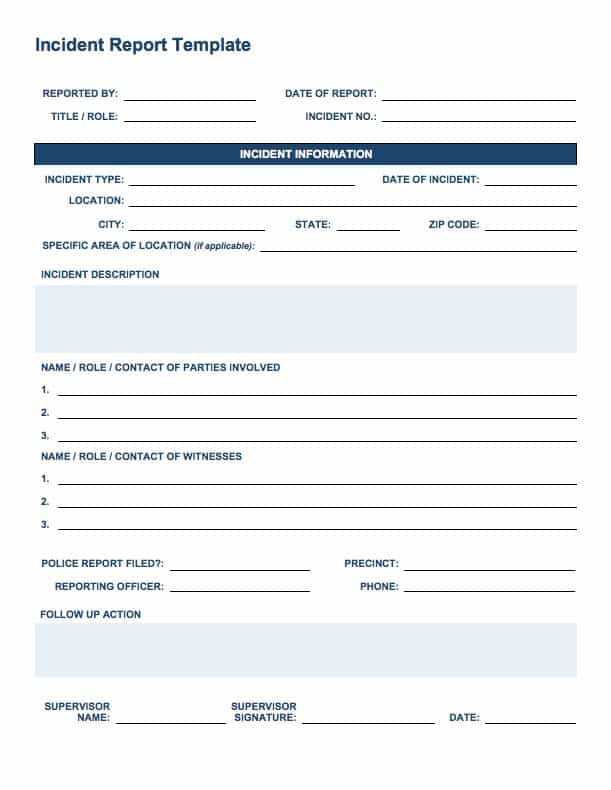 Superior IC Incident Report In Incident Report Templates