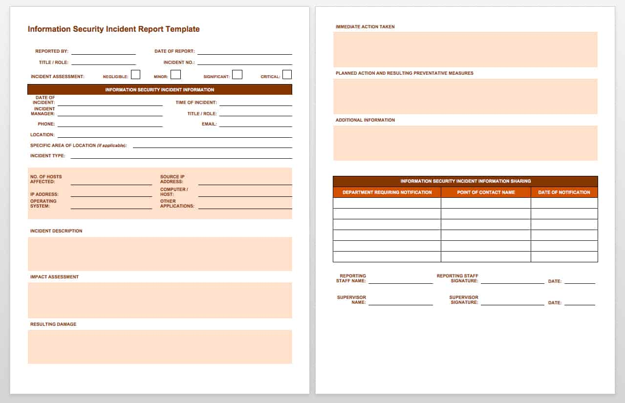 IC Information Security Incident Report  Injury Incident Report Template
