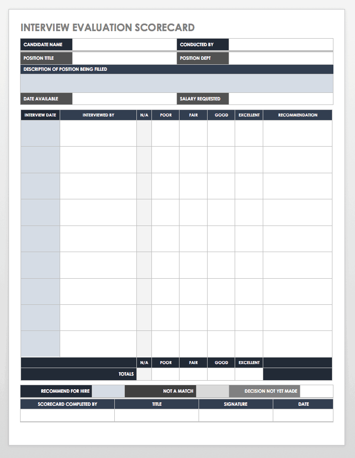Interview Evaluation Scorecard Template