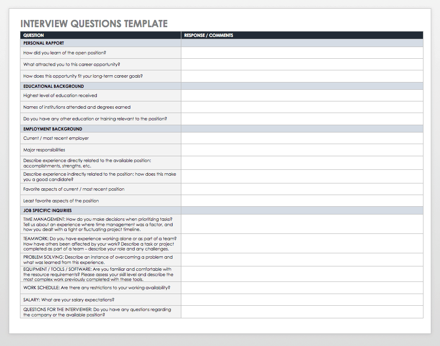 free interview templates and scorecards smartsheet