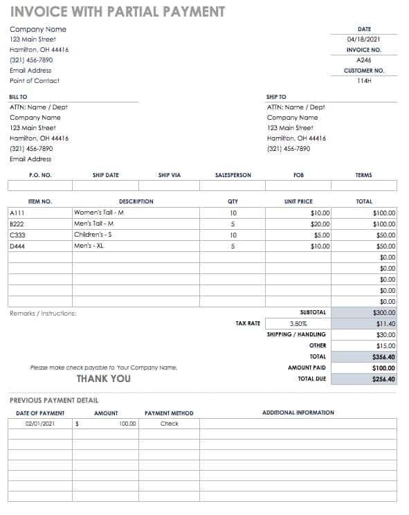 Free Invoice Templates Smartsheet - Invoice for payment template