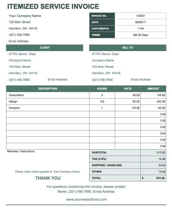 Nice IC ItemizedServiceInvoice  Customer Receipt Template Word