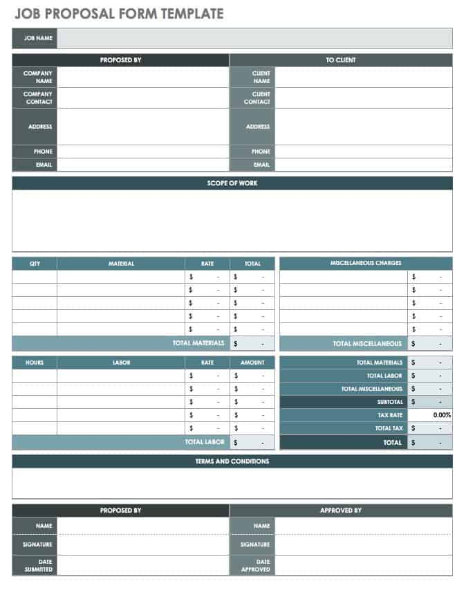 Job Proposal Form Template  Proposal Form Template