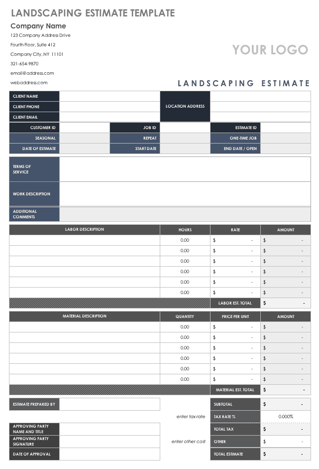 Free Estimate Templates
