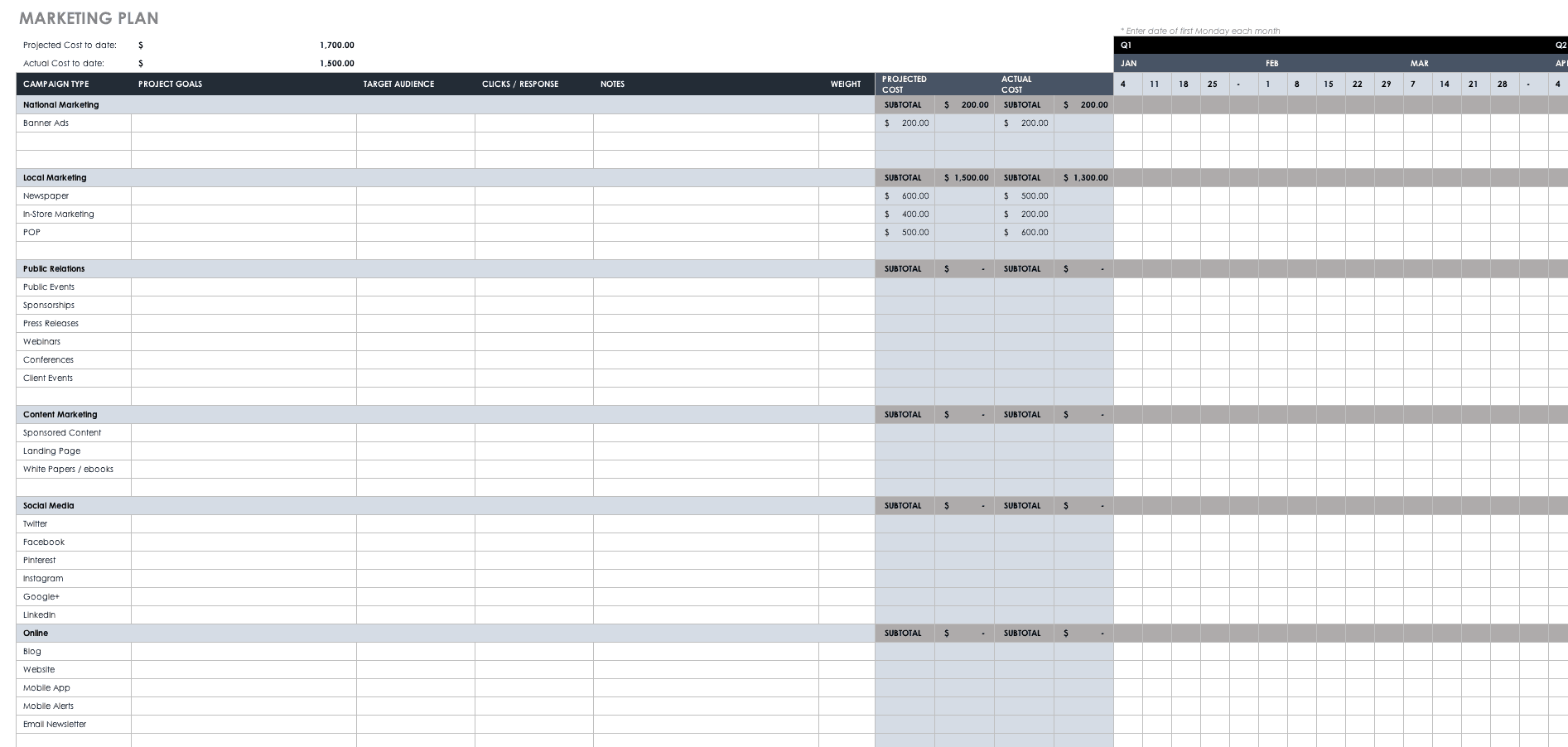 free excel marketing calendar template.html