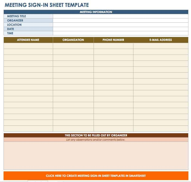 Free Signin and Signup Sheet Templates – Excel Sign in Sheet Template