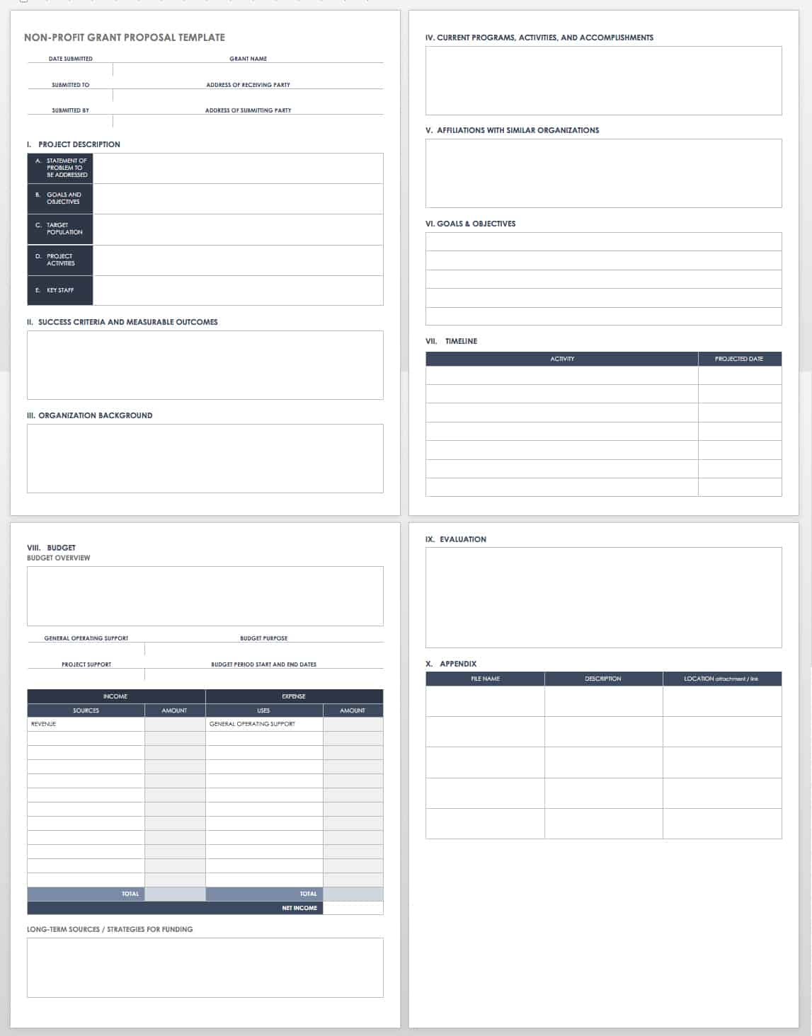 Free grant proposal templates smartsheet for Grant template for nonprofit