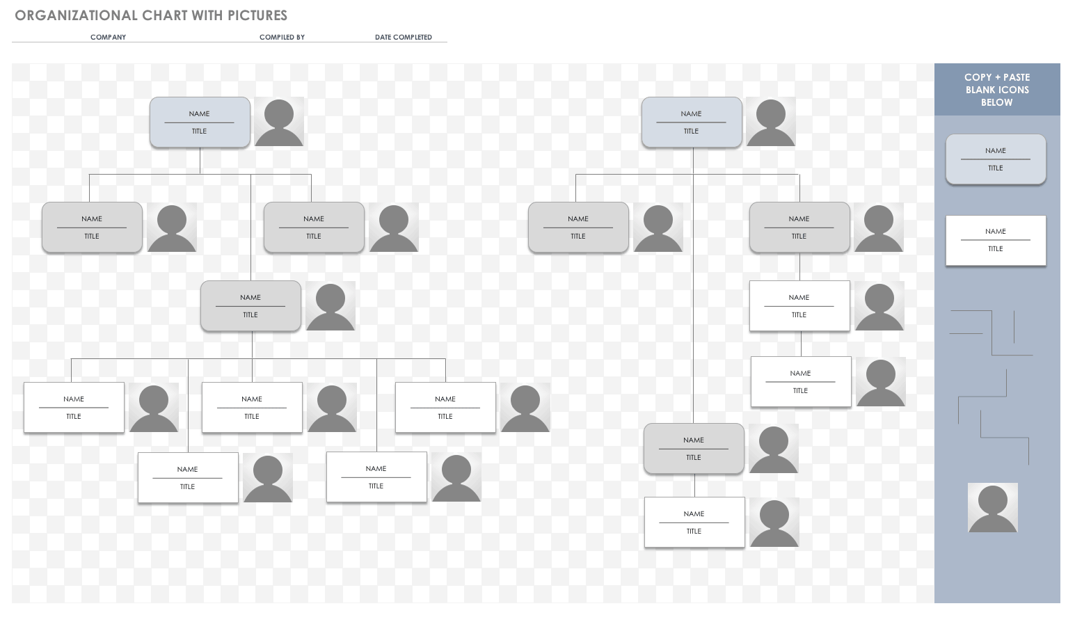 Horizontal Org Chart Template With Pictures