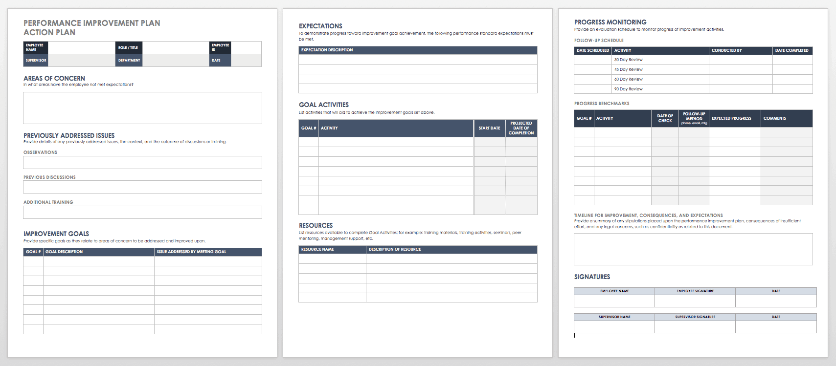 Performance Improvement Plan Action Template