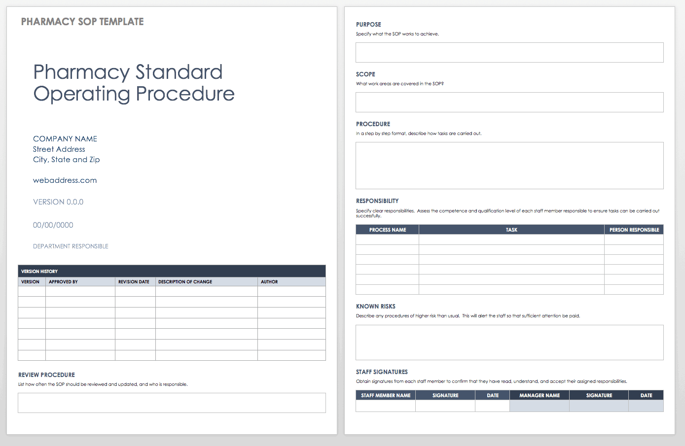 Standard operating procedures templates smartsheet pharmacy standard operating procedure template maxwellsz