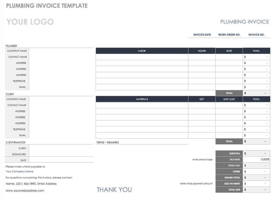 Free Invoice Templates Smartsheet - Plumbers invoice template