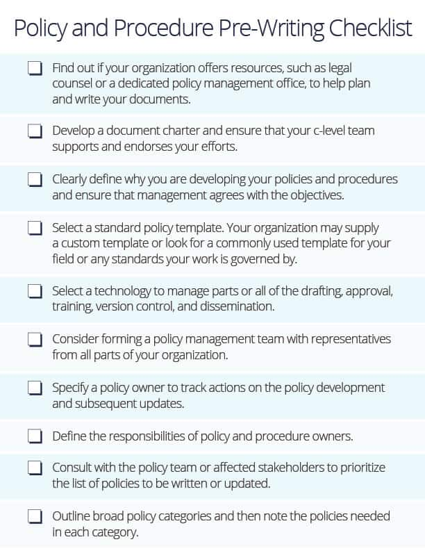 writing policy and procedures template - how to write policies and procedures smartsheet