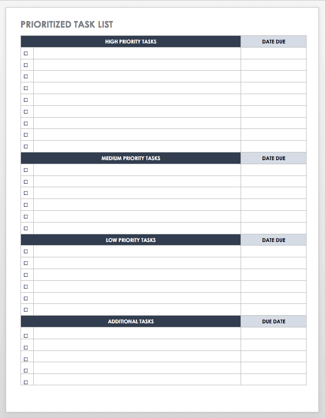 Free task and checklist templates smartsheet for Prioritizing tasks template
