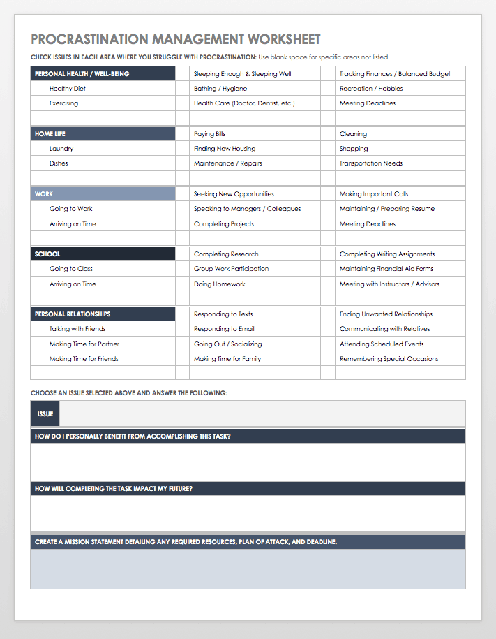 procrastination management worksheet template